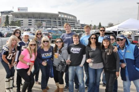 Members of the San Diego Alumni Chapter tailgates before a Chargers' game
